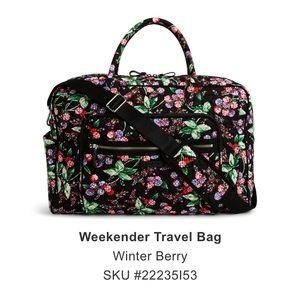 Vera Bradley weekender travel bag in winter berry